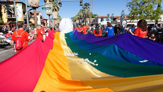 Scene from the 2012 Palm Springs Pride Parade held at North Palm Canyon Drive in Palm Springs on Sunday morning, November 4, 2012.