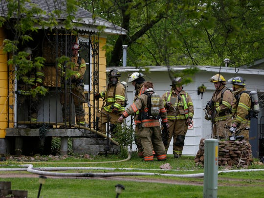 Firefighters from four departments responded to a house