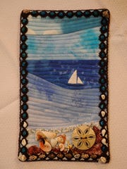 """Inspired by Ocean,"" a tiny quilt made by Suzanne Kistler"