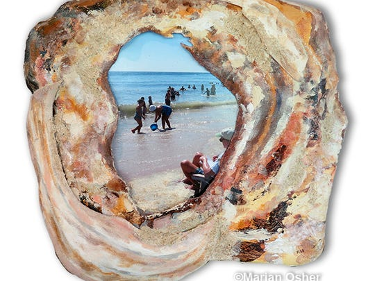 """""""Shell Scape"""" by Marian Osher is a mixed-media painting and photo collage with sculpted shells on canvas, people on the beach."""