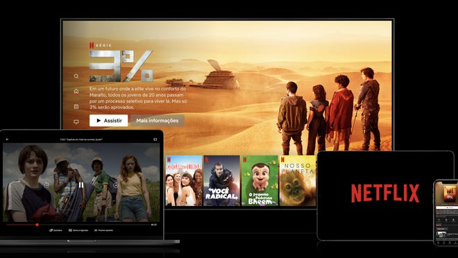 The Netflix app displayed on a TV, laptop, tablet, and smartphone.
