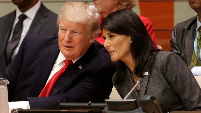 President Trump and U.S. Ambassador to the United Nations Nikki Haley before the United Nations General Assembly on Sept. 18, 2017.