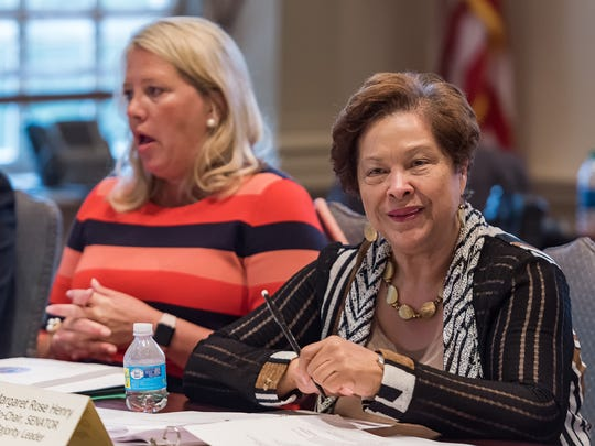 Senate Majority Leader Margaret Rose Henry (right) and House Speaker Pro Tempore Helene Keeley, co-chairs of the Adult Use Cannabis Task Force, lead a discussion at Legislative Hall in Dover during the first meeting of the new task force, a 25-member body charged with examining how marijuana legalization could be implemented in Delaware.