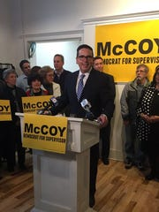 Matt McCoy, former Iowa State Senator, announces candidacy for Polk County Supervisor on Jan 31, 2018.
