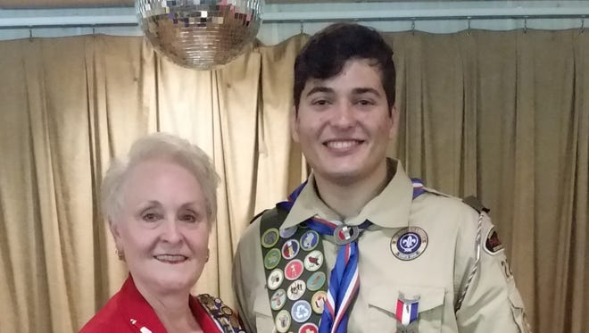 Jersey Blue Daughters of the American Revolution (DAR) Chapter Past Regent Susan Luczu presented a youth Good Citizenship Award and pin to Christopher Rimanic in recognition of his scouting accomplishments and earning the rank of Eagle Scout.