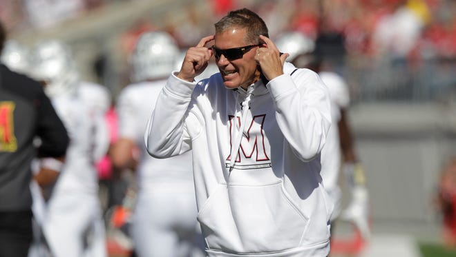 Maryland football coach Randy Edsall works on the sideline against Ohio State on Oct. 10, 2015, in Columbus, Ohio.