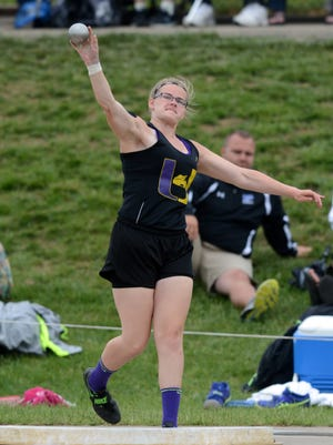 Autumn Mohan throws in the Division II shot put state semifinals last spring near Jesse Owens Memorial Stadium in Columbus. Mohan signed with Ohio University this week to become a part of the Bobcats' track and field program.