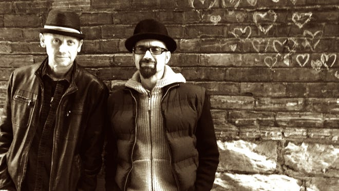 Allen Keller (right), formerly of the Falling Wallendas, has returned to music after a 10-year absence for Happiless, a pop project with Mike Benign (left).