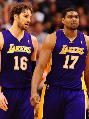 Pau Gasol, left, and Andrew Bynum, shown in 2012, were Lakers teammates for years but now could be trade for one another.