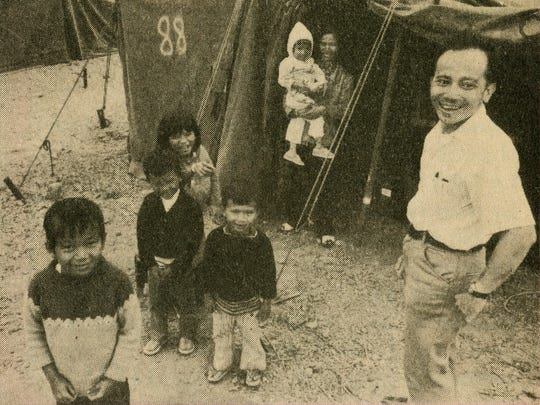 Thuan Le Elston's family in front of the refugee tent