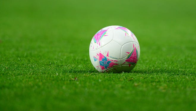 Detailed view of an Olympic soccer ball.