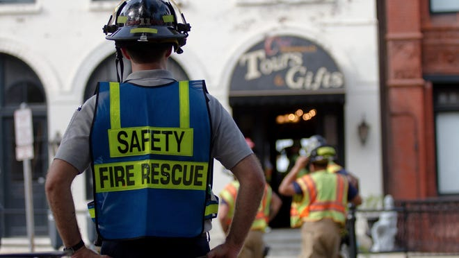 Savannah Fire firefighters respond to a hazardous materials incident at Cool Savannah Gifts and Tours on East Bay Street on July 27, 2017. SFES responded after an employee had an adverse reaction to some form of chemical or substance in the building.