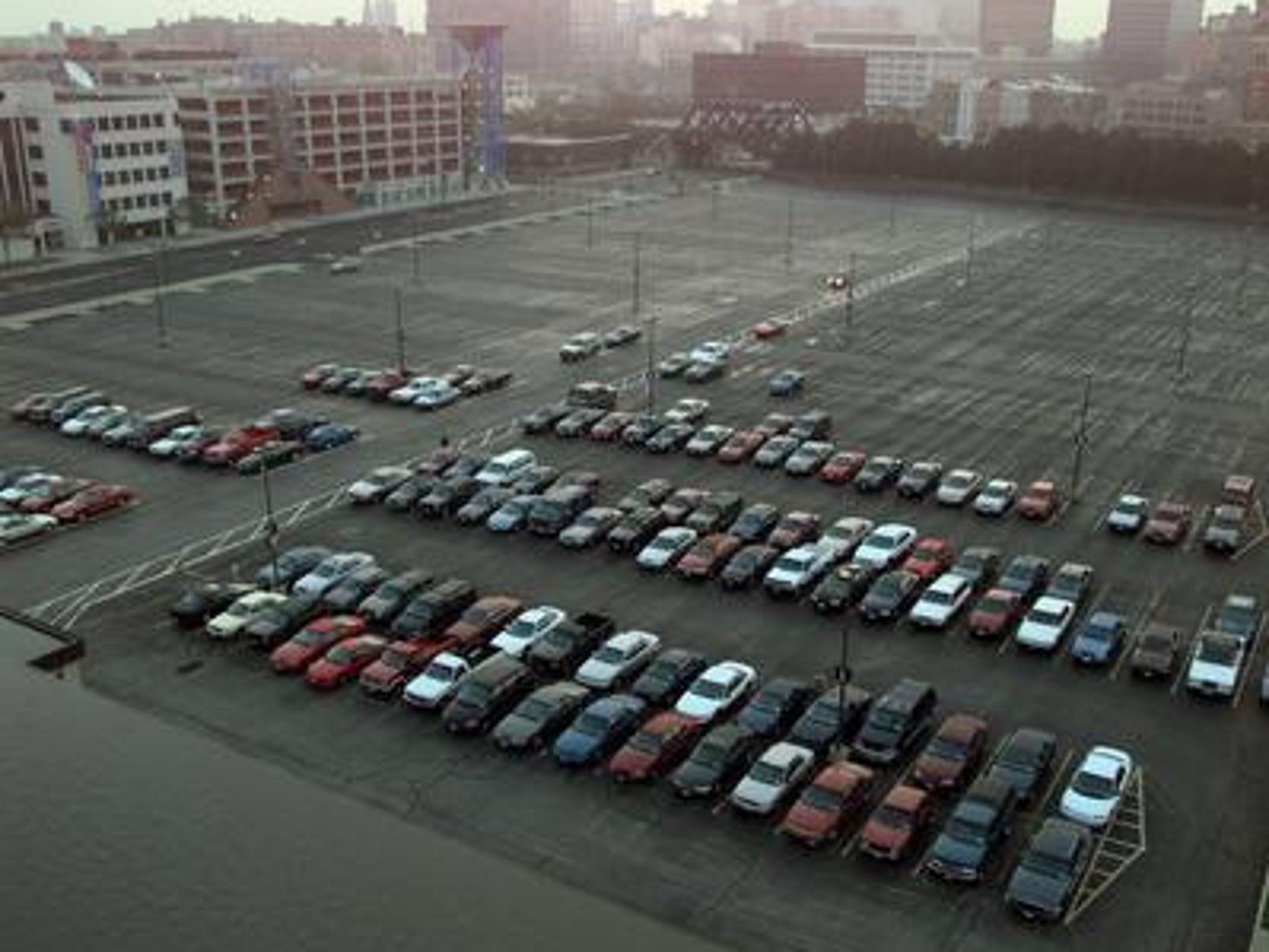 Rochester's Eastman Business Park is seen in 1997. As Kodak downsized, fewer cars were in its parking lot.