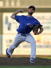 Justin Hancock is one of the hardest throwing pitchers for the Iowa Cubs this season.
