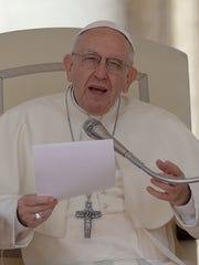 Pope Francis delivers a speech at the Vatican on April 25, 2018.