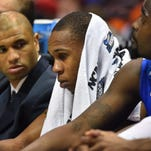 Middle Tennessee guard Jaqawn Raymond (10) sits on the bench during the second half against Syracuse.