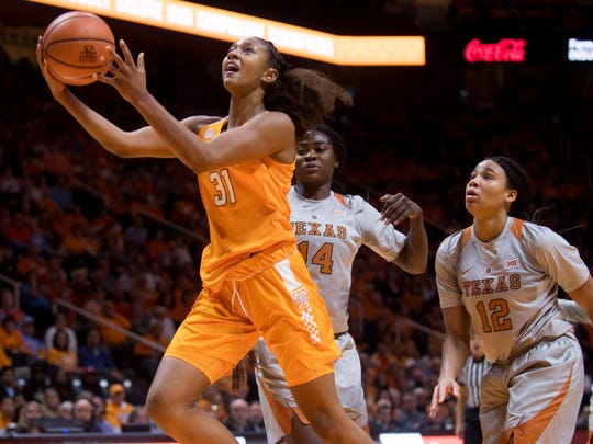 Tennessee guard Jaime Nared (31) attempts a shot during Tennessee's home basketball game against Texas at Thompson-Boling Arena on Sunday, Dec. 10, 2017.