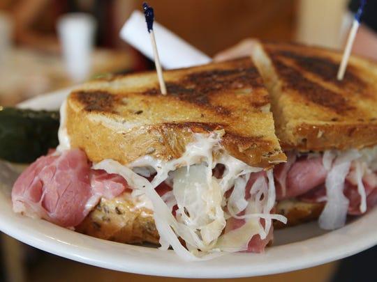 A corned-beef sandwich from Larry's Lunch Box Delicatessen.