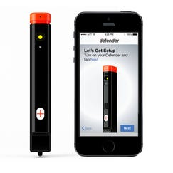 The Defender (left) includes pepper spray, a camera and links to your smartphone.
