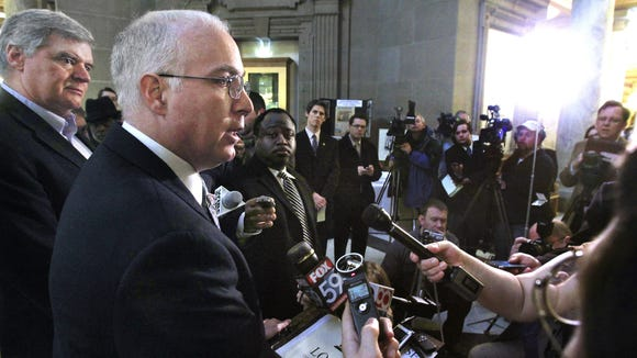 Sen. Mike Delph, R-Carmel, called a news conference during gay marriage debate earlier this year in the state legislature.