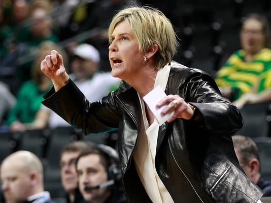 Minnesota coach Marlene Stollings calls to her team during a first-round game against Green Bay in the NCAA women's college basketball tournament in Eugene, Ore., Friday, March 16, 2018. (AP Photo/Chris Pietsch)