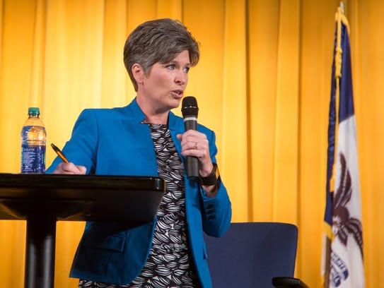 Sen. Joni Ernst holds a town meeting in Harlan Monday,