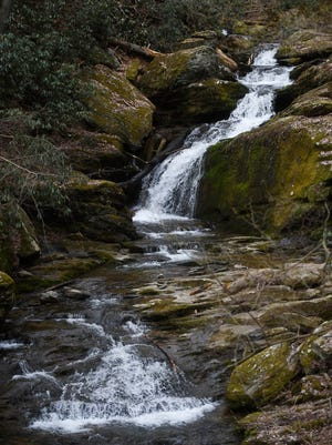 One of the sections of Mill Creek Falls on the Mason-Dixon Trail. The falls continue up a half mile on the trail.