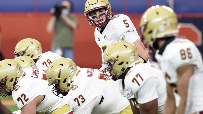 Boston College quarterback Phil Jurkovec looks down the line of scrimmage during the first half of the Eagles 16-13 win over Syracuse, at the Carrier Dome in Syracuse, N.Y.