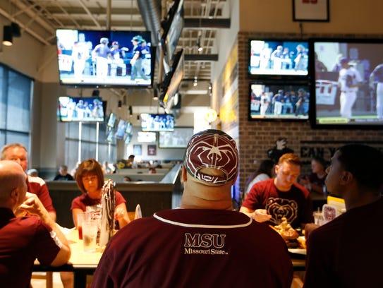 Missouri State baseball fans watch the game at Buffalo