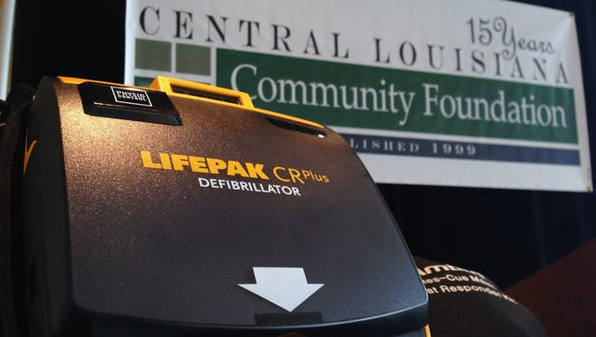 This portable automatic electronic defibrillator now is stationed at the Coughlin-Saunders Performing Arts Center, thanks to a partnership between the Central Louisiana Community Foundation and Acadian Companies. Another will be kept at the Kress Theater's Hearn Stage, while a third one will be on hand for outdoor events held in downtown Alexandria.