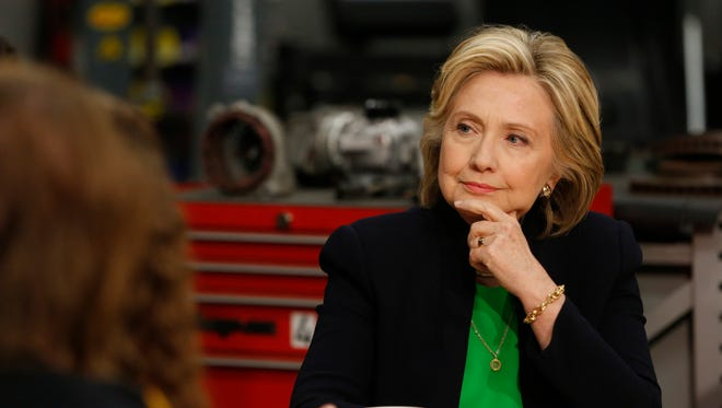 Democratic presidential candidate Hillary Clinton listens to students and educators Tuesday, April 14, 2015 during a roundtable discussion at Kirkwood Community College's satellite campus in Monticello.