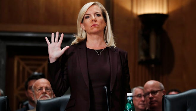 Kirstjen Nielsen is sworn in at a Senate hearing Nov. 8, 2017, on her nomination to be Department of Homeland Security Secretary.