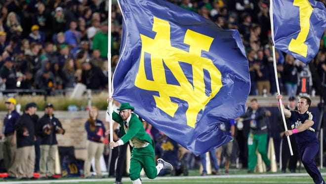 The Notre Dame leprechaun rallies fans during a game against Southern California last year.