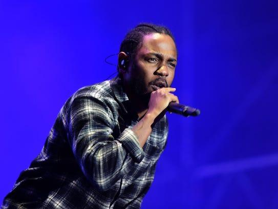 Rapper Kendrick Lamar performs at the Palace of Auburn