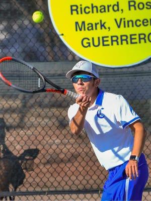 Pueblo Central's Jordan Rittgers returns a shot against Pueblo Centennial's Trevor Niccoli on Saturday, Sept. 12, 2020, on the courts at Pueblo Central High School.