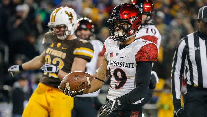 San Diego State running back Donnel Pumphrey became the NCAA's No. 2 all-time rusher Saturday during the Mountain West championship game in Laramie, Wyo.