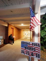 The First United Lutheran poll sign as seen Nov. 8,