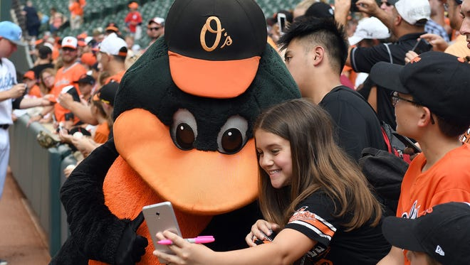The Oriole Bird takes a selfie with a fan before the game against the St. Louis Cardinals at Oriole Park at Camden Yards.
