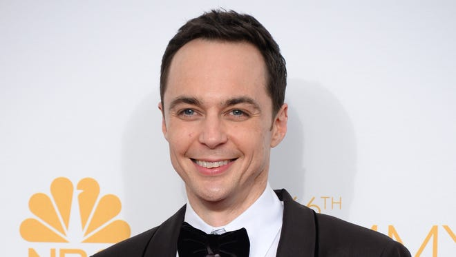 "Jim Parsons poses in the press room after winning the award for outstanding lead actor in a comedy series for his work on ""The Big Bang Theory"" at the 66th Annual Primetime Emmy Awards in Los Angeles on Aug. 25, 2014."