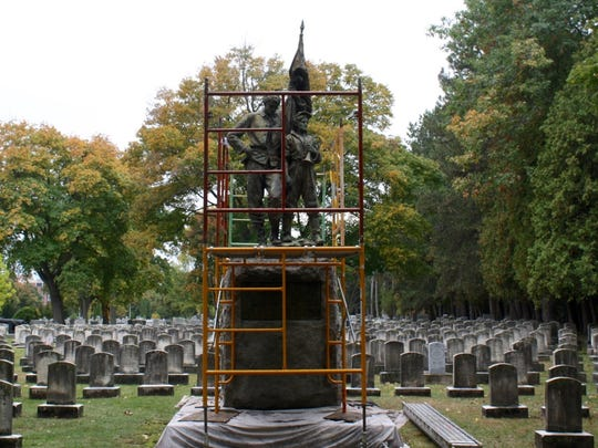 The Civil War monument at Mt. Hope Cemetery is currently being restored.