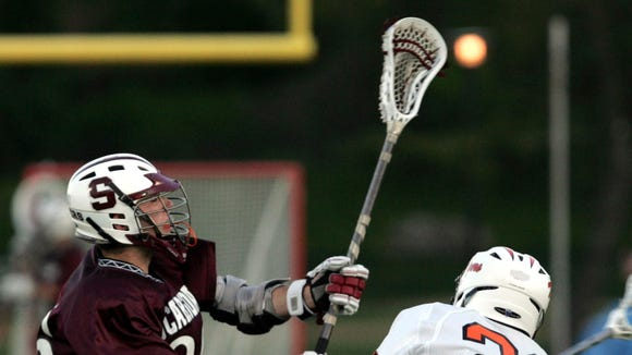 White Plains and Scarsdale during boys lacrosse game at White Plains High School May 5, 2010. ( Frank Becerra Jr. / The Journal News )