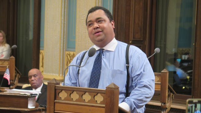 Sen. Coleman Young II, a Detroit Democrat, speaks against legislation to bail out and restructure Detroit's school district in the Senate chamber on Wednesday, June 8, 2016, in Lansing, Mich.