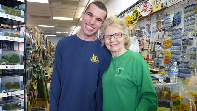 Jan Kucsma, owner of the Little Big Railroad Shop in Somerville, and her grandson, Cary Brochinsky.