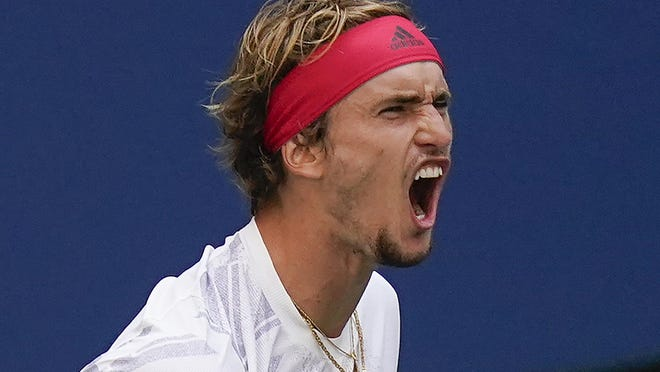 Alexander Zverev, of Germany, reacts during a match against Borna Coric, of Croatia, 147during the quarterfinals of the US Open tennis championships, Tuesday, Sept. 8, 2020, in New York.