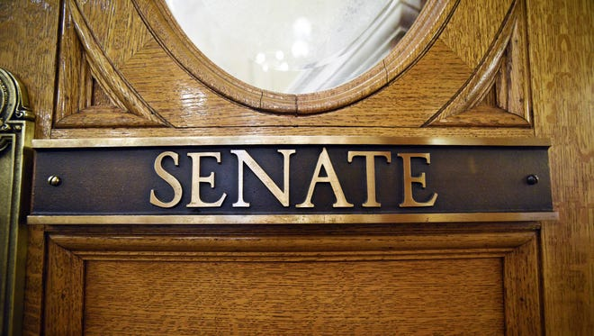 A placard on the doors of the Senate chambers in the South Dakota State Capitol on Jan. 9, 2018 in Pierre, S.D.
