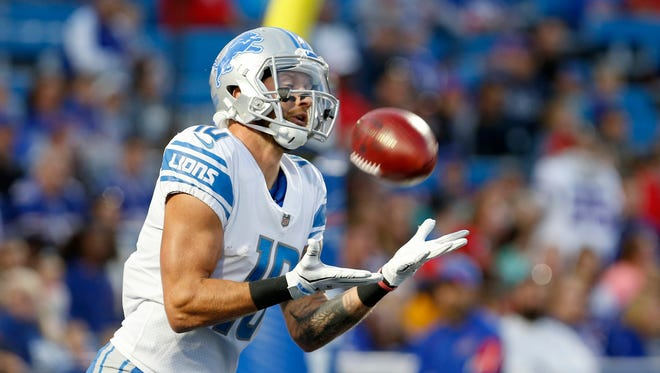 Aug 31, 2017; Orchard Park, NY, USA; Lions receiver Jared Abbrederis catches the ball on a kickoff during the first quarter against the Bills at New Era Field.