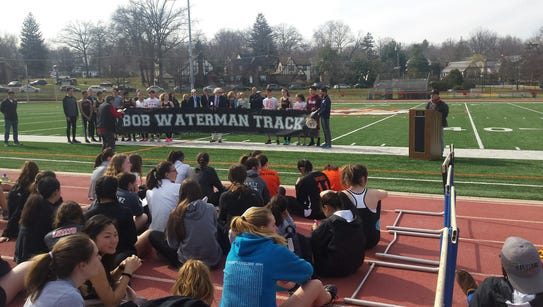 The banner naming the track in Tenafly for Bob Waterman