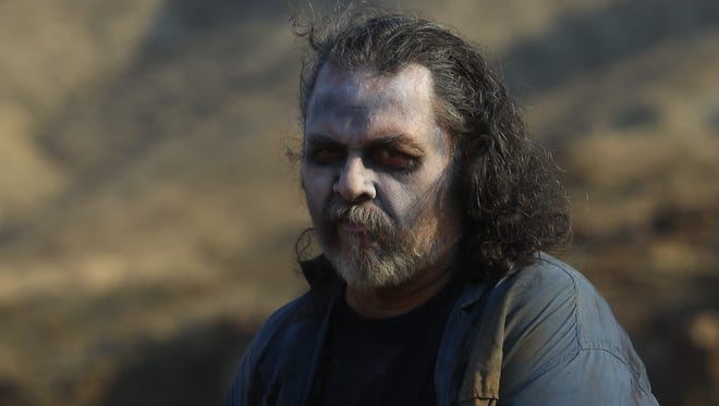 """Actors impersonating """"zombies"""" in a movie titled """"Valentine Dayz"""" which is shooting in the Palm Hills Movie Ranch."""