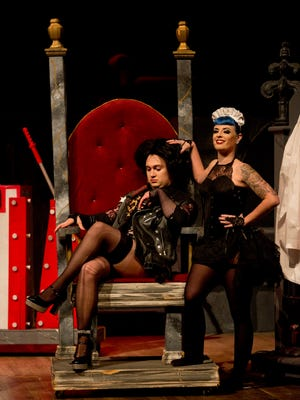 Brandon Johnson performs as Dr. Frank-N-Furter as Magenta DeMure performs as Magenta during rehearsal for the Rocky Horror Picture Show Tuesday, Oct. 20, 2015, at McMorran Theater.