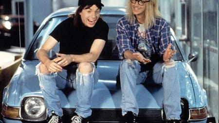 """Mike Myers, left, and Dana Carvey reunited with several cast and crew members of the 1992 movie """"Wayne's World"""" for Josh Gad's """"Reunited Apart"""" YouTube series."""